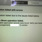 【iPhoneアプリ開発備忘録】 Xcode6  Validate時のエラー「iTunes Store operation failed. No suitable application records were found.」